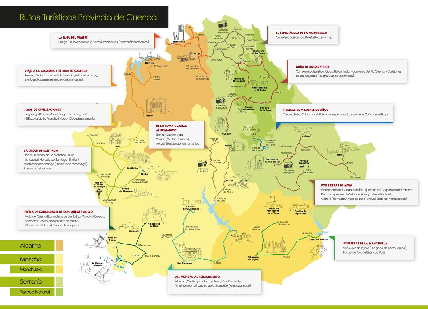 Mapa Provincia De Cuenca.Excursiones A Zonas Naturales Y Senderismo Por La Provincia De Cuenca Campillo Pueblo Vivo